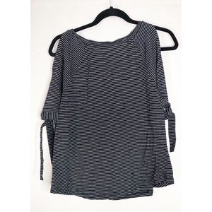 Loft s cold shoulder striped tie sleeve blouse